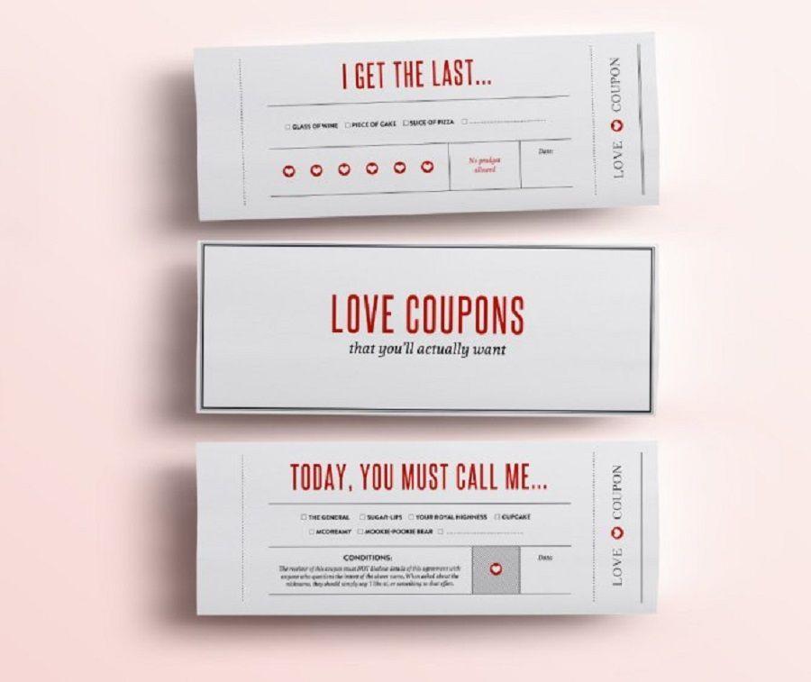 Love coupon dove sono scritte tutte le coccole che dovete farvi