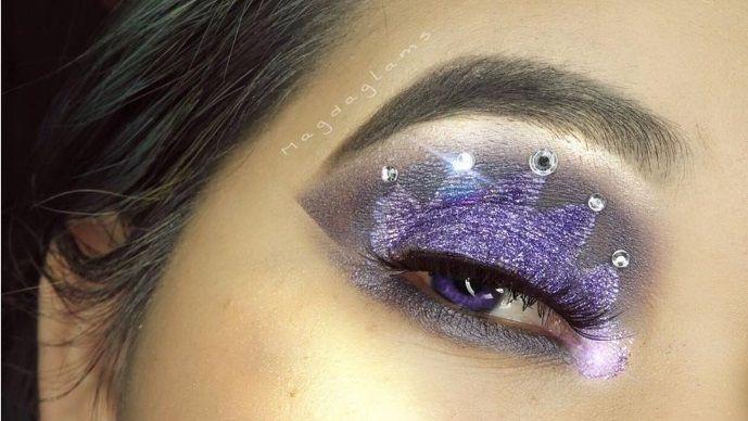 Make up occhi con corona nei toni del viola