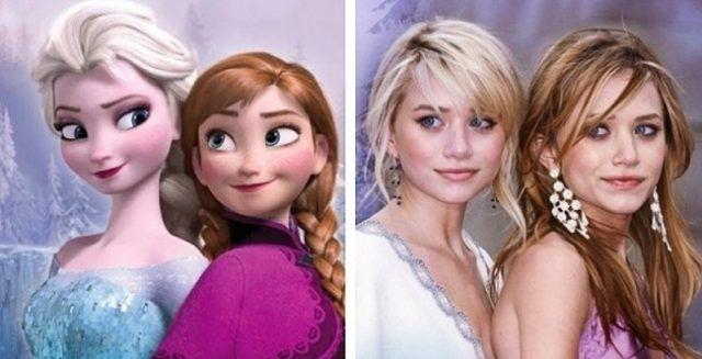 Anna ed Elsa e Mary-Kate e Ashley Olsen