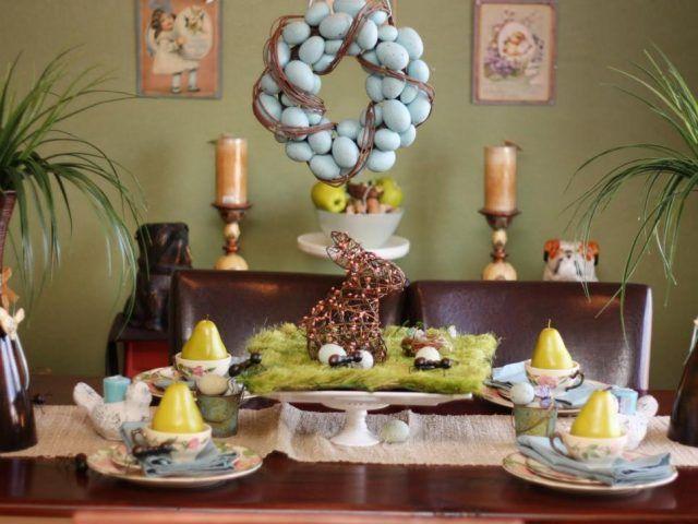 Centrotavola di Pasqua alto con coniglio
