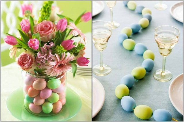Centrotavola di Pasqua con uova colorate