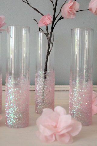 Vasi porta fiori con glitter