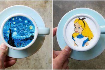 Opere d'arte nelle tazzine di caffè