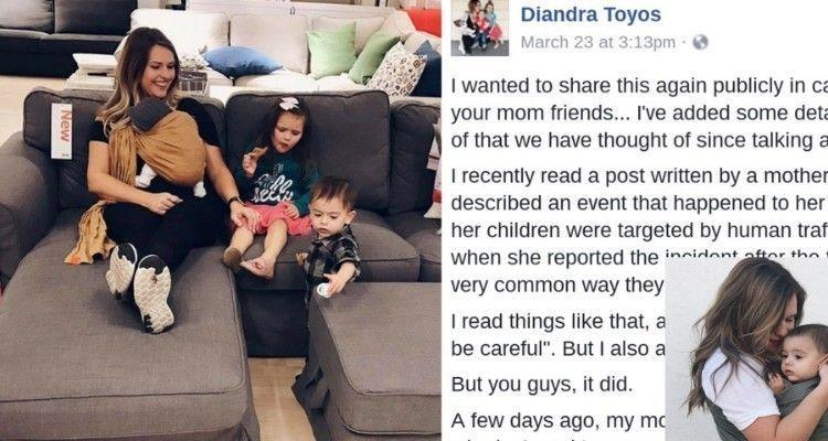 Mamma si accorge di due trafficanti di essere umani mentre seguono lei e i suoi figli dentro l'Ikea