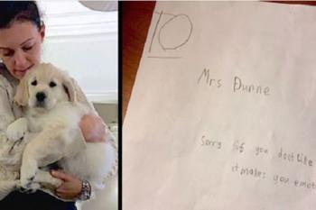 Insegnante triste per la morte del cane: poi un alunno di 9 anni le dà un bigliettino