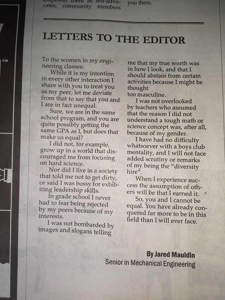 Jared Mauldin lettera