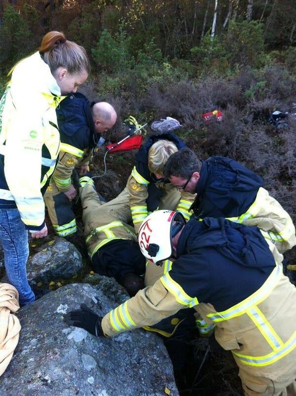 cane salvato dai pompieri
