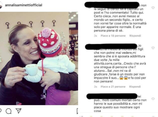 """Cattiverie contro la Minetti su Instagram: """"Sei cieca, non dovevi fare figli"""""""