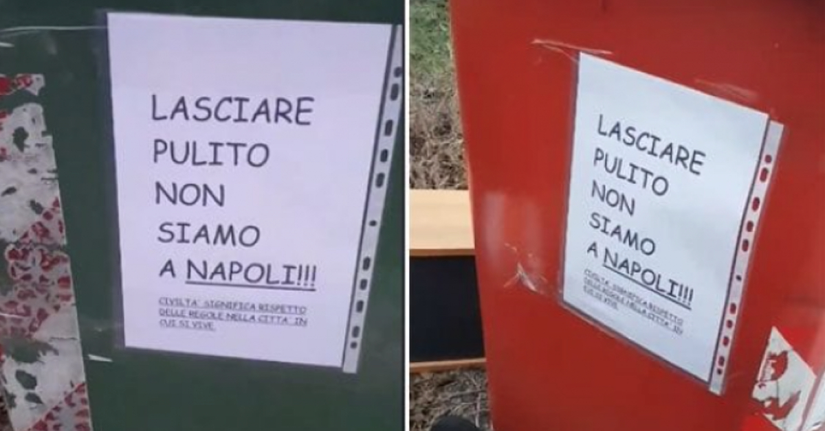 """""""Lasciare pulito, non siamo a Napoli"""", l'insulto apparso sui cassonnetti"""