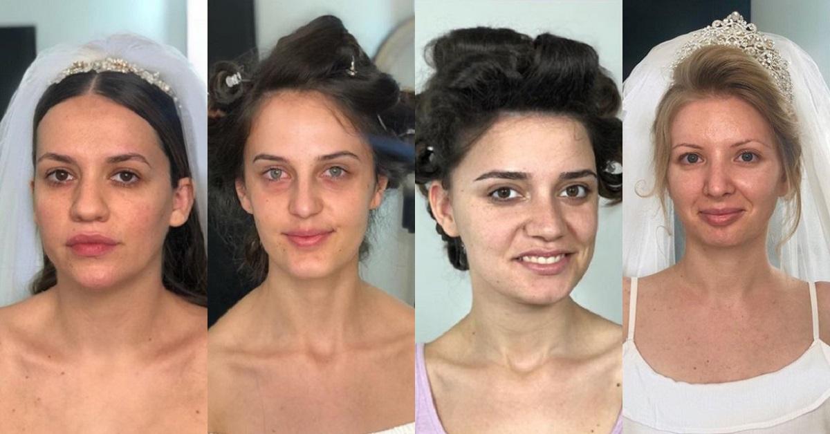 Make up artist mostra il prima e il dopo del trucco delle spose
