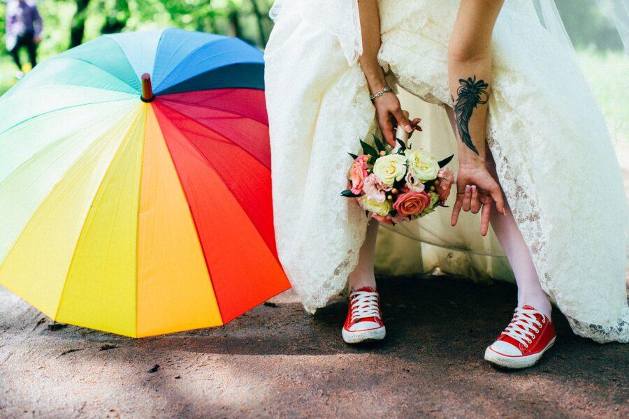 Scarpe da ginnastica da sposa personalizzate
