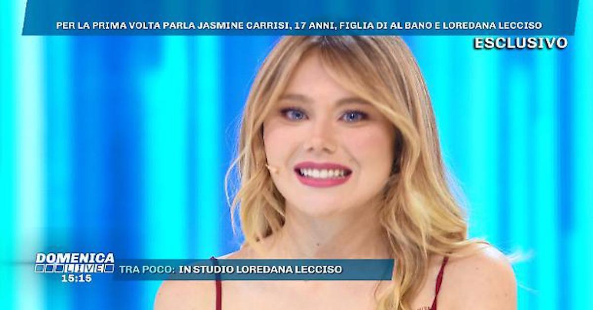 """Jasmine Carrisi si confessa a Domenica Live da Barbara D'Urso: """"non sono incinta né fidanzata con Giovanni Antonacci"""""""