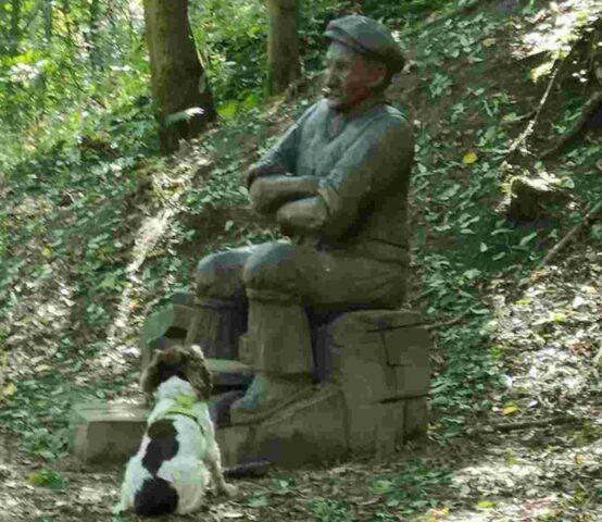 Chester-il-cane-che-vuole-giocare-con-la-statua