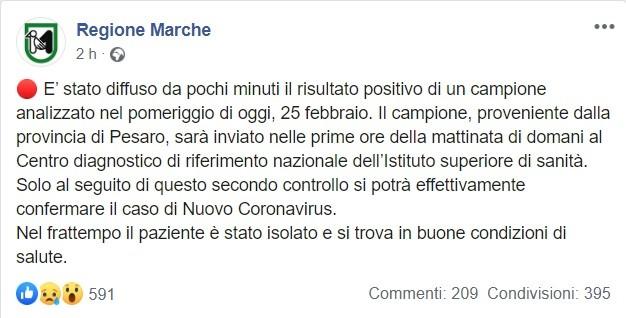 Coronavirus, nuovo caso positivo a Pesaro, attesa la conferm