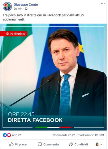 Giuseppe Conte In Diretta Su Facebook Dispone Nuove Restrizioni Garantite Solo Attivita Essenziali
