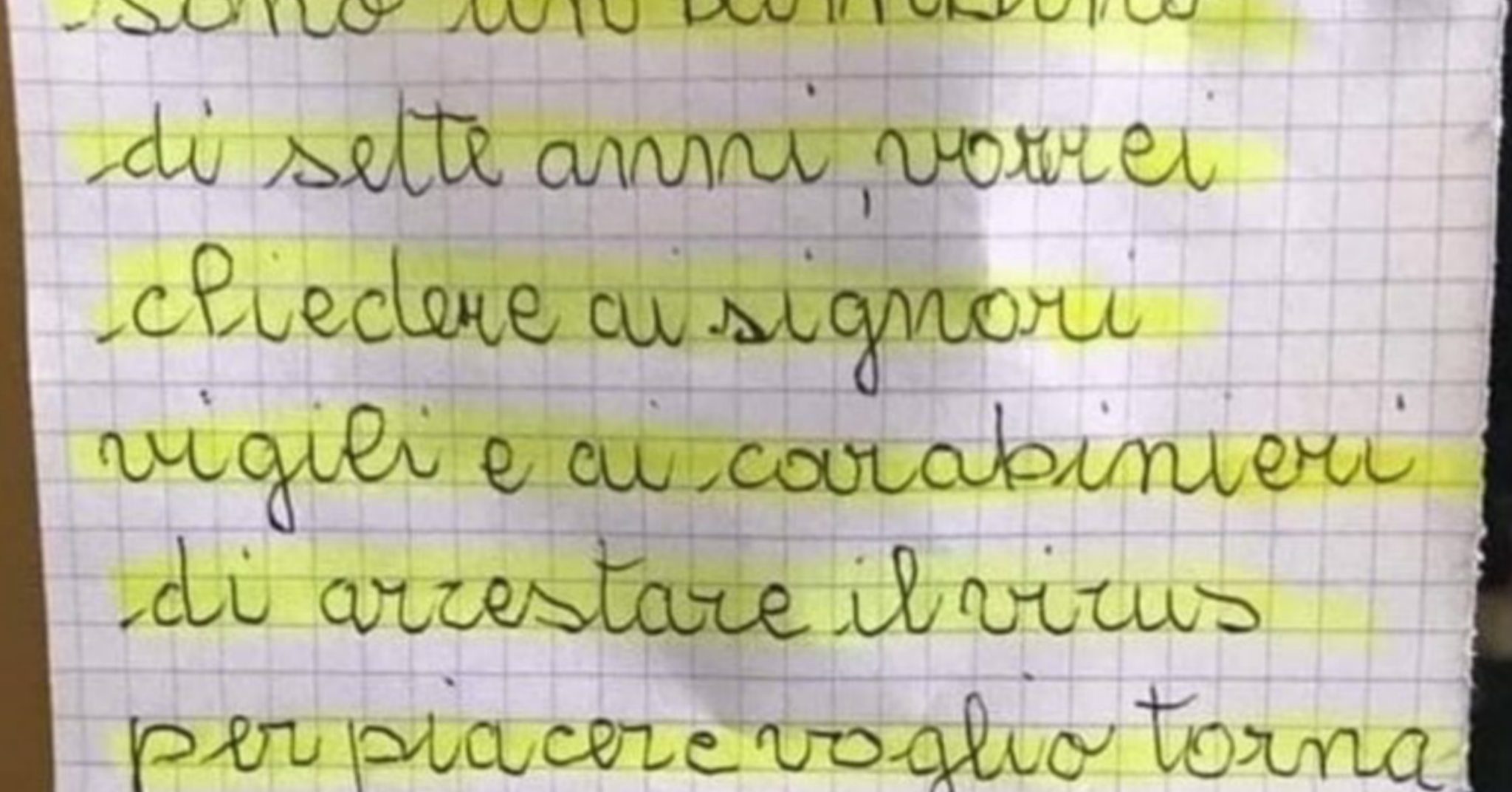 Coronavirus a Bari, bimbo di 7 anni scrive una lettera ai Vi