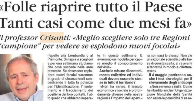 Andrea Crisanti no alla fase 2
