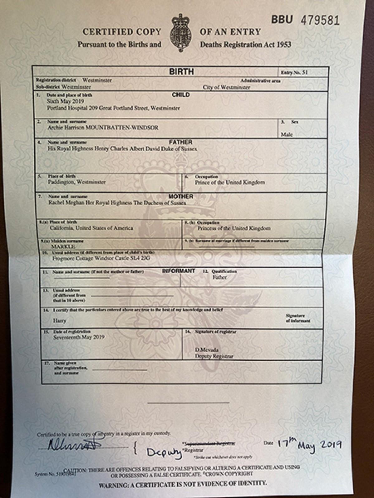 Archie Harrison, 5 cose che il suo certificato di nascita ri