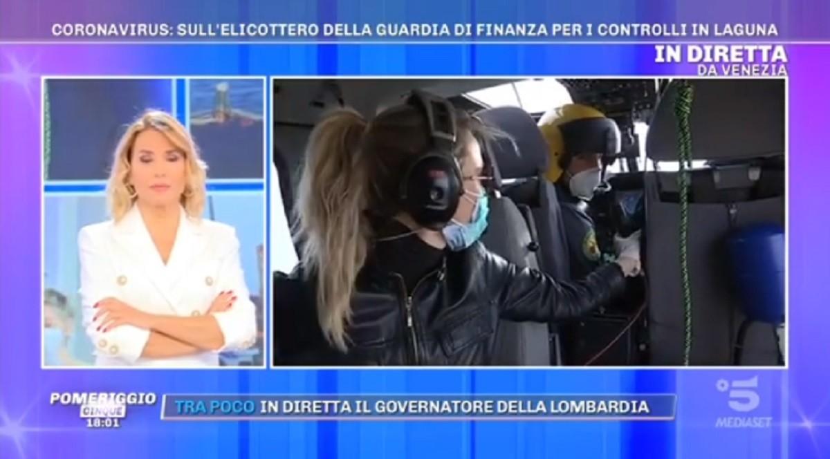 Pomeriggio Cinque, Barbara D'Urso in diretta dall'elicottero