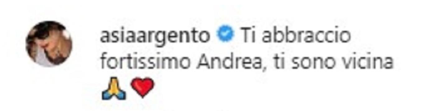 Asia Argento, messaggio per Andrea Preti