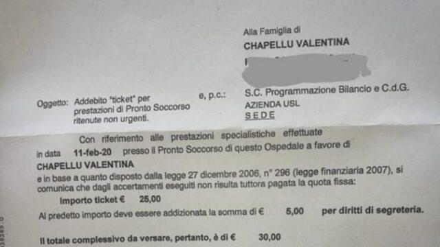 Valentina Chapellu morta ospedale chiede ticket