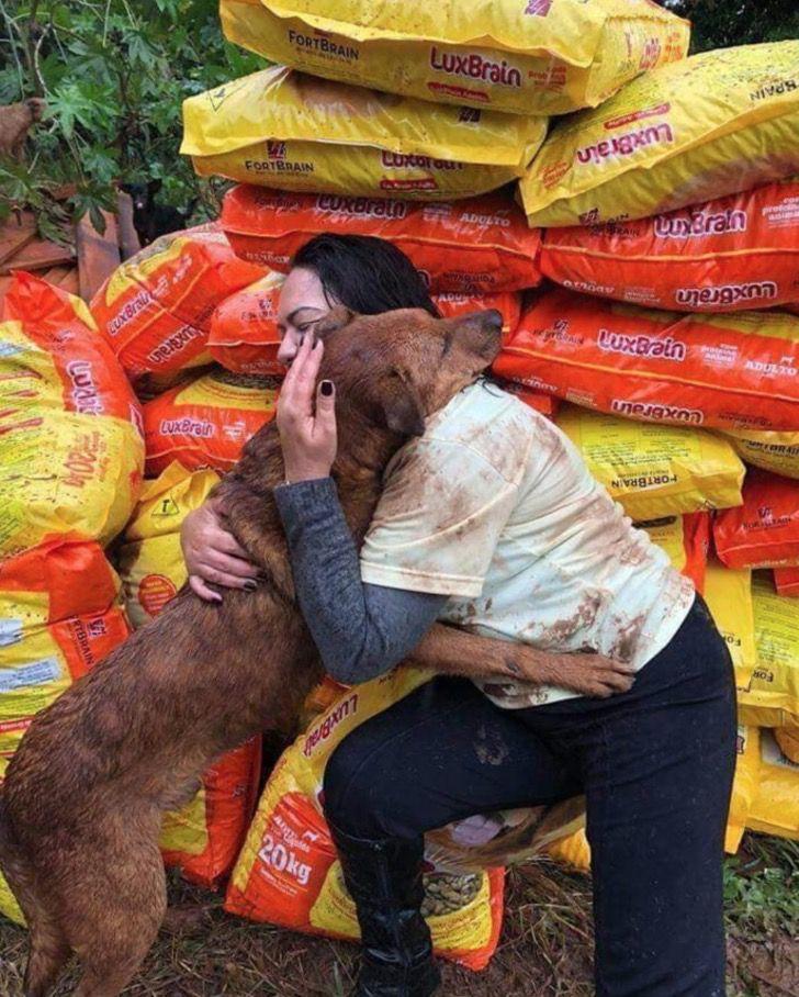 Cane abbraccia una donna