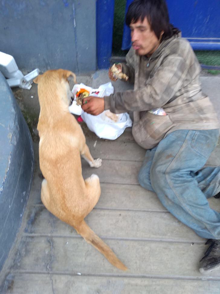 Uomo condivide il pollo con il cane