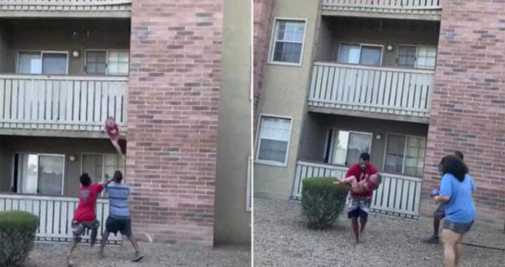 Phillip Blanks salva un bambino gettato dal terzo piano da sua madre: l'edificio era in fiamme