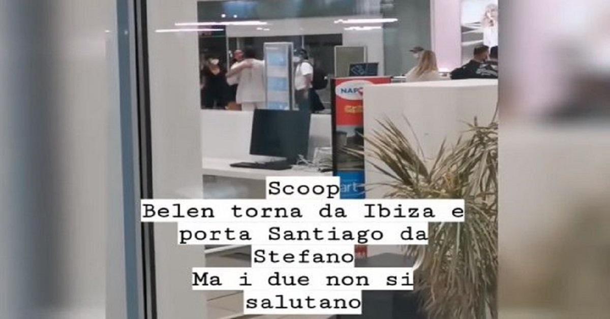 Stefano e Belen incontro scontro in aeroporto