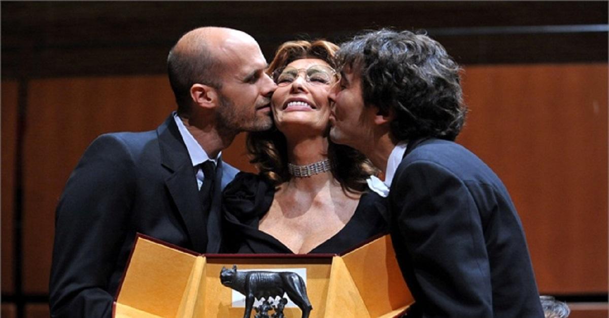 Sofia Loren e i figli