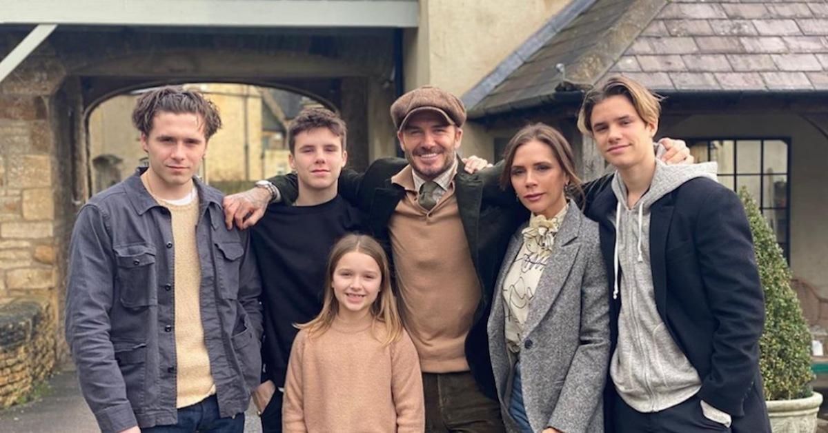 David e Vittoria Beckham con la famiglia