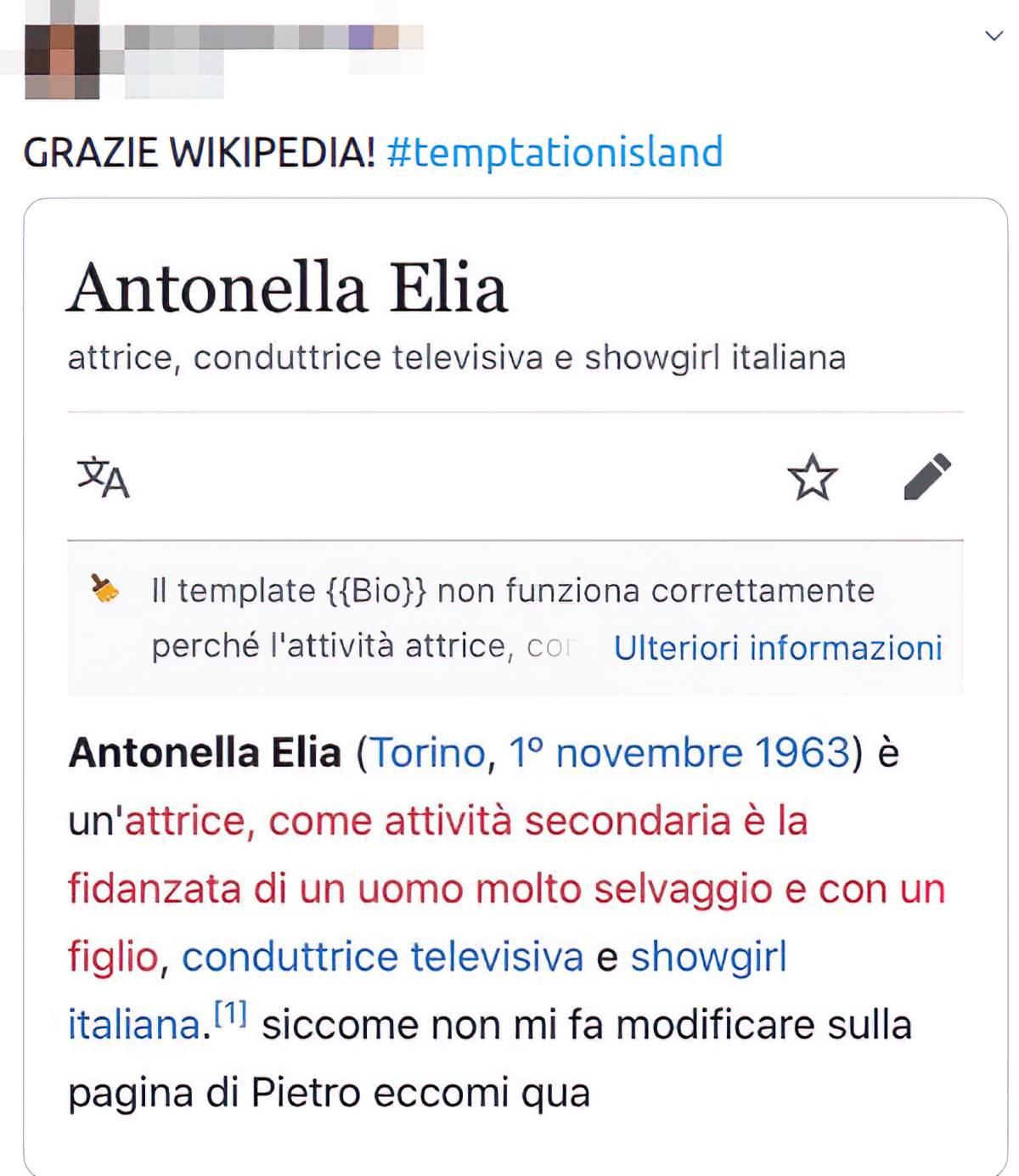 screenshot dalla pagina Wikipedia di Antonella Elia