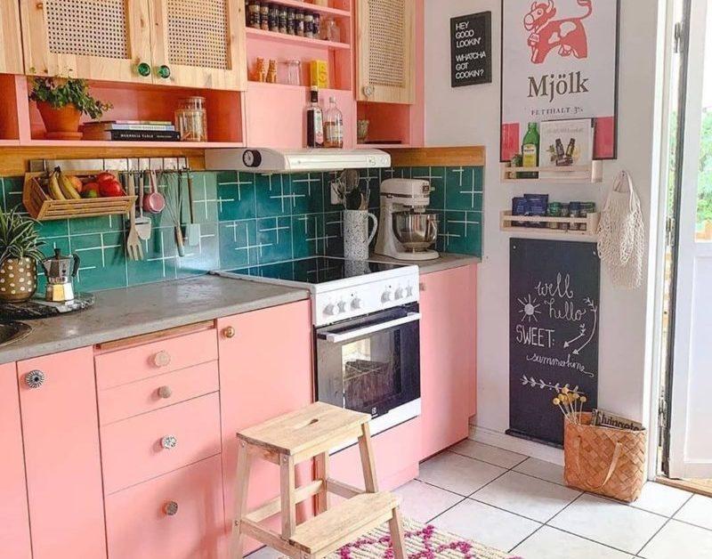 cucina rosa bohemien
