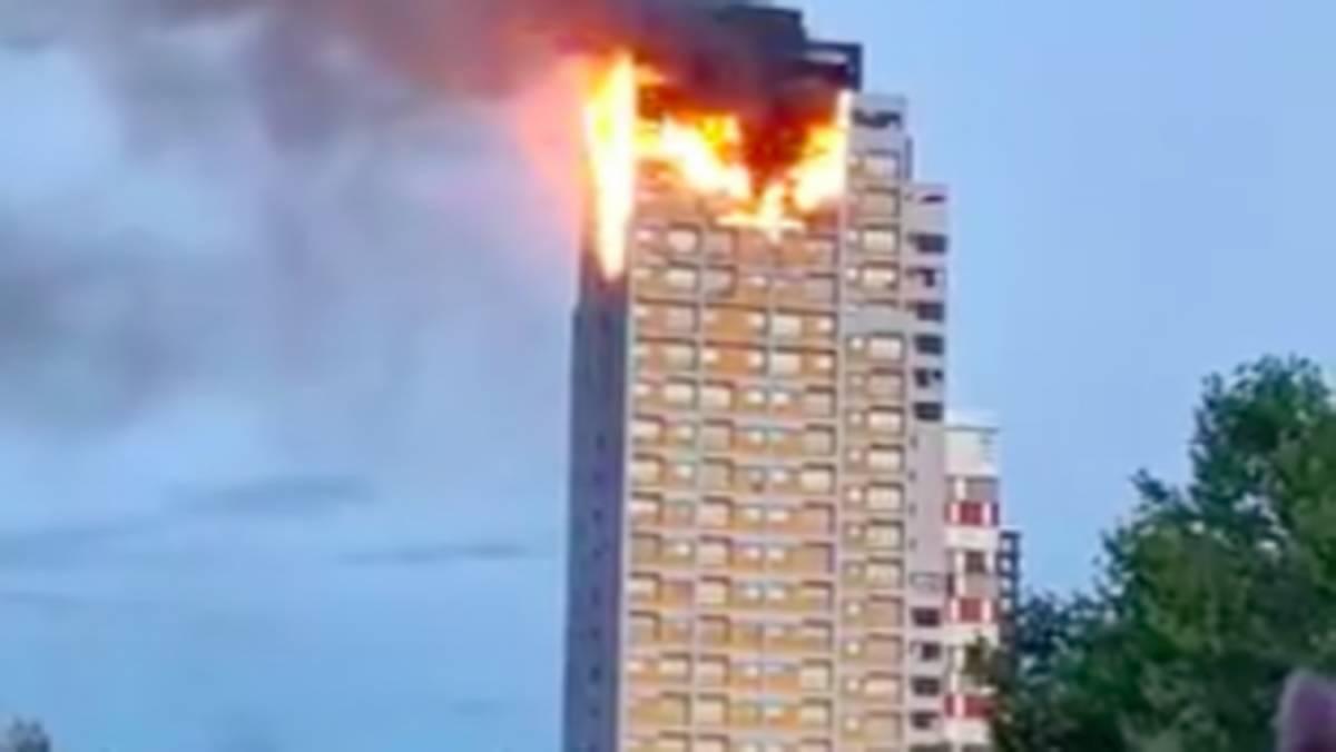 incendio in un grattacielo a Madrid