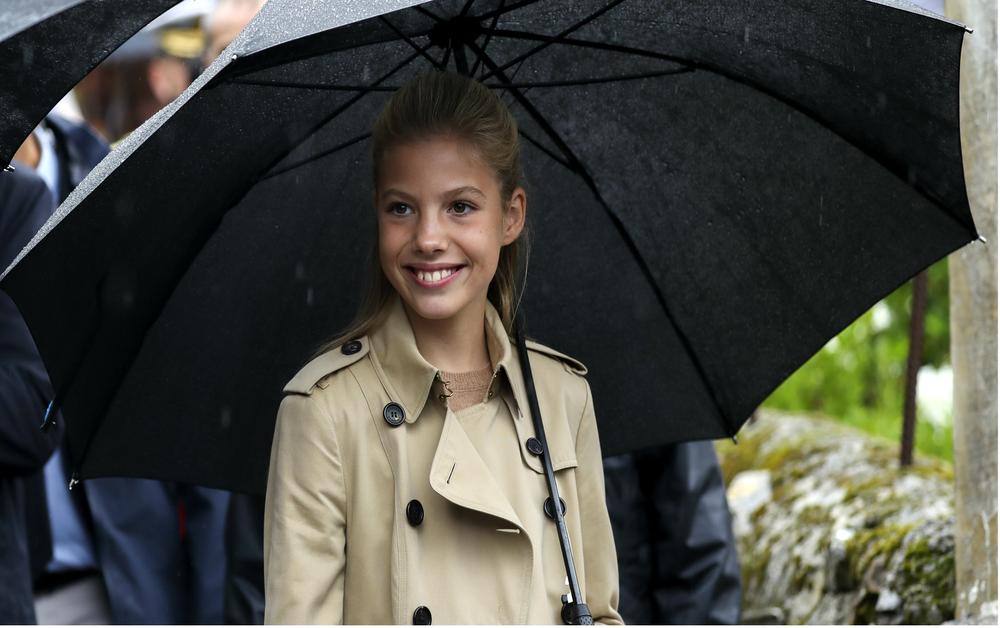 Infanta Sofia con ombrello e impermeabile