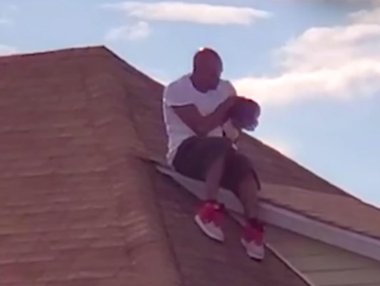 Cane sul tetto salvato