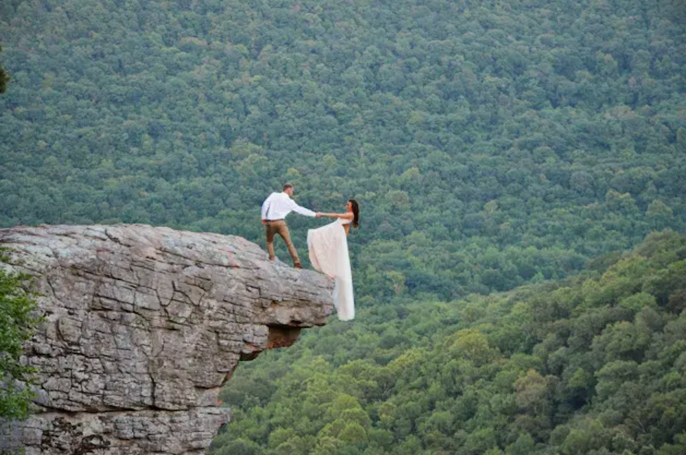 Foto del matrimonio a Hawksbill Crag