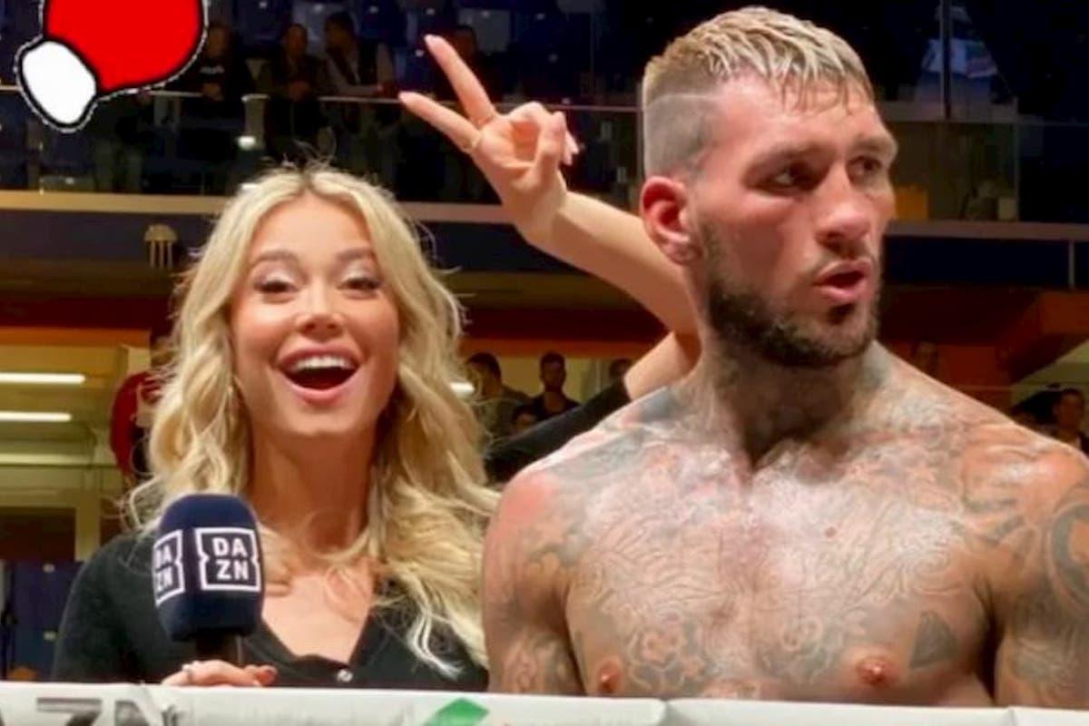 Diletta Leotta conduce un evento di boxe con Daniele Scardina