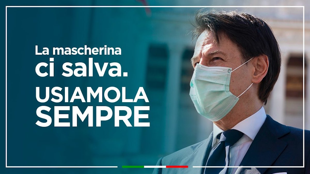 Foto Mascherina Giuseppe Conte