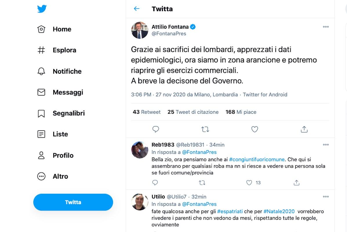Attilio Fontana annuncia il passaggio alla zona arancione
