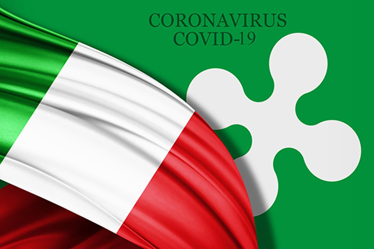 Bandiera d'Italia e logo Regione Lombardia