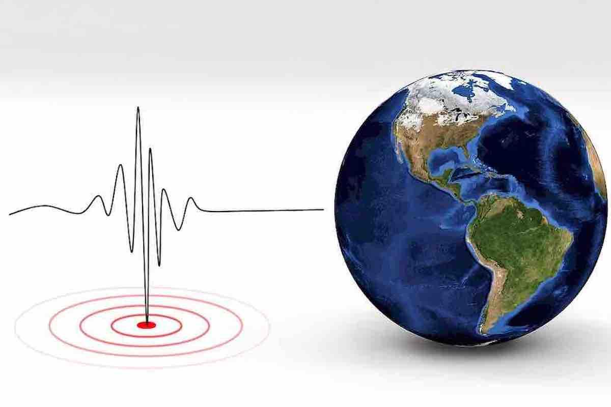 Simbolo terremoto e il mondo