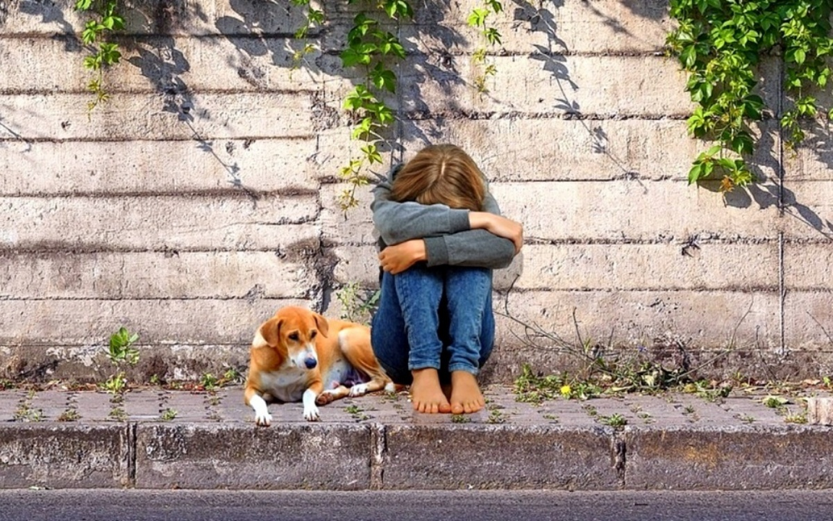 5 bambini e 6 cani abbandonati in una stazione di servizio