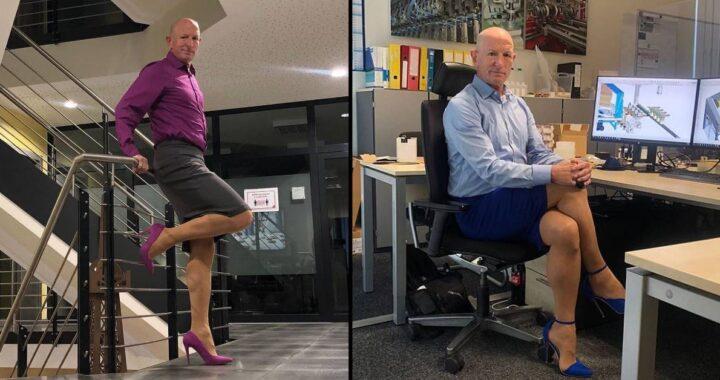 Mark Bryan è etero, sposato e ha dei figli e lavora come ingegnere robotico ma ama indossare gonne a tubino e tacchi alti: le foto