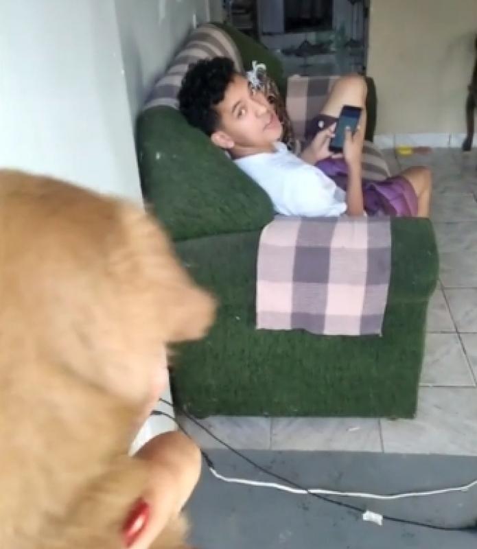 Vitor Santos e il cucciolo