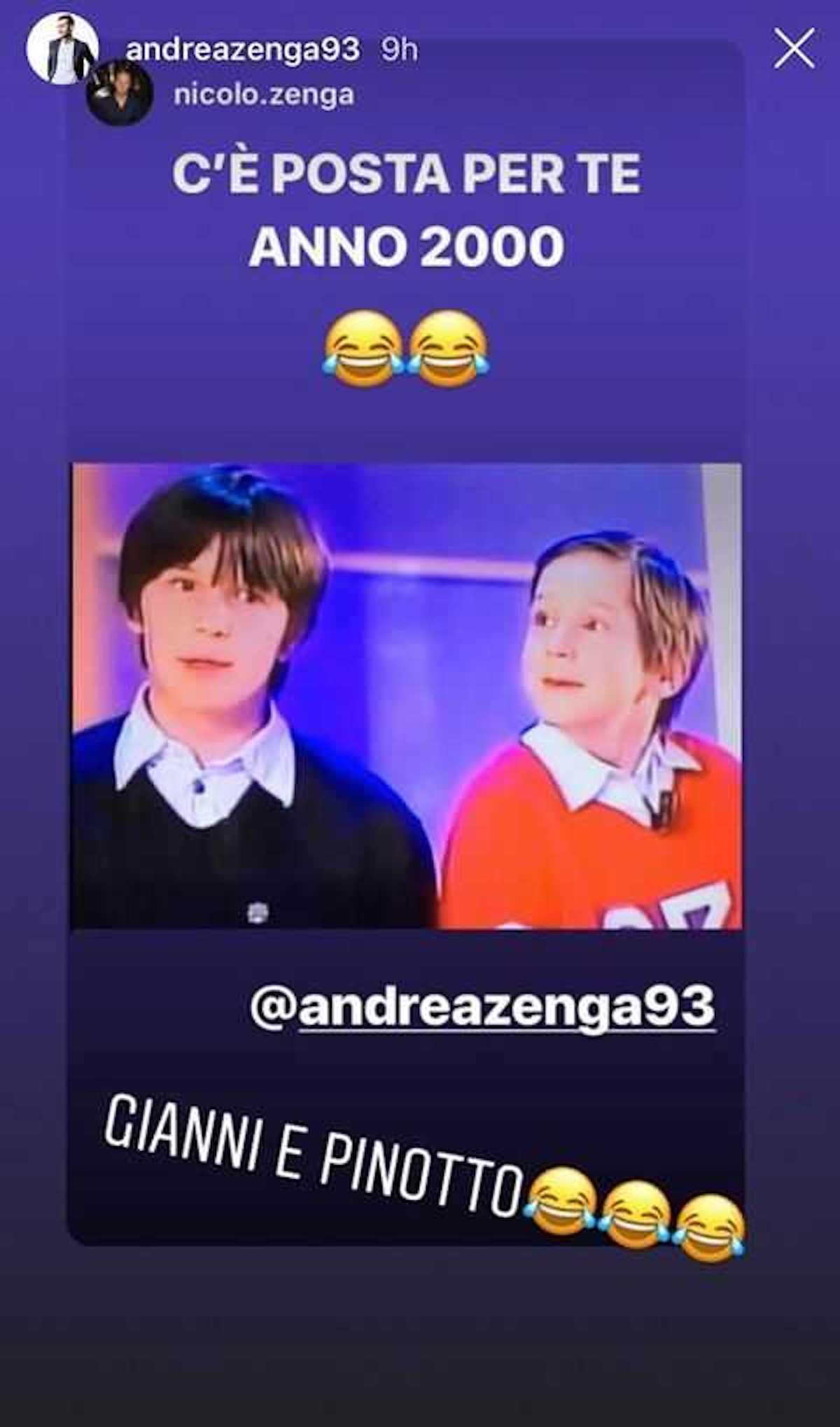 Instagram story di Zenga Andrea