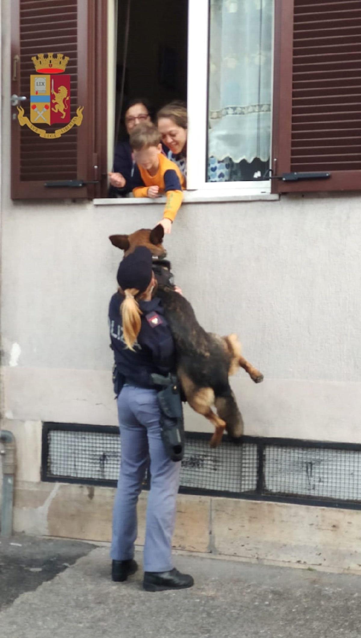 Bimbo dà una carezza al cane