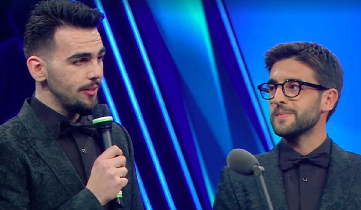 Intervento al microfono di Ignazio Boschetto de Il Volo