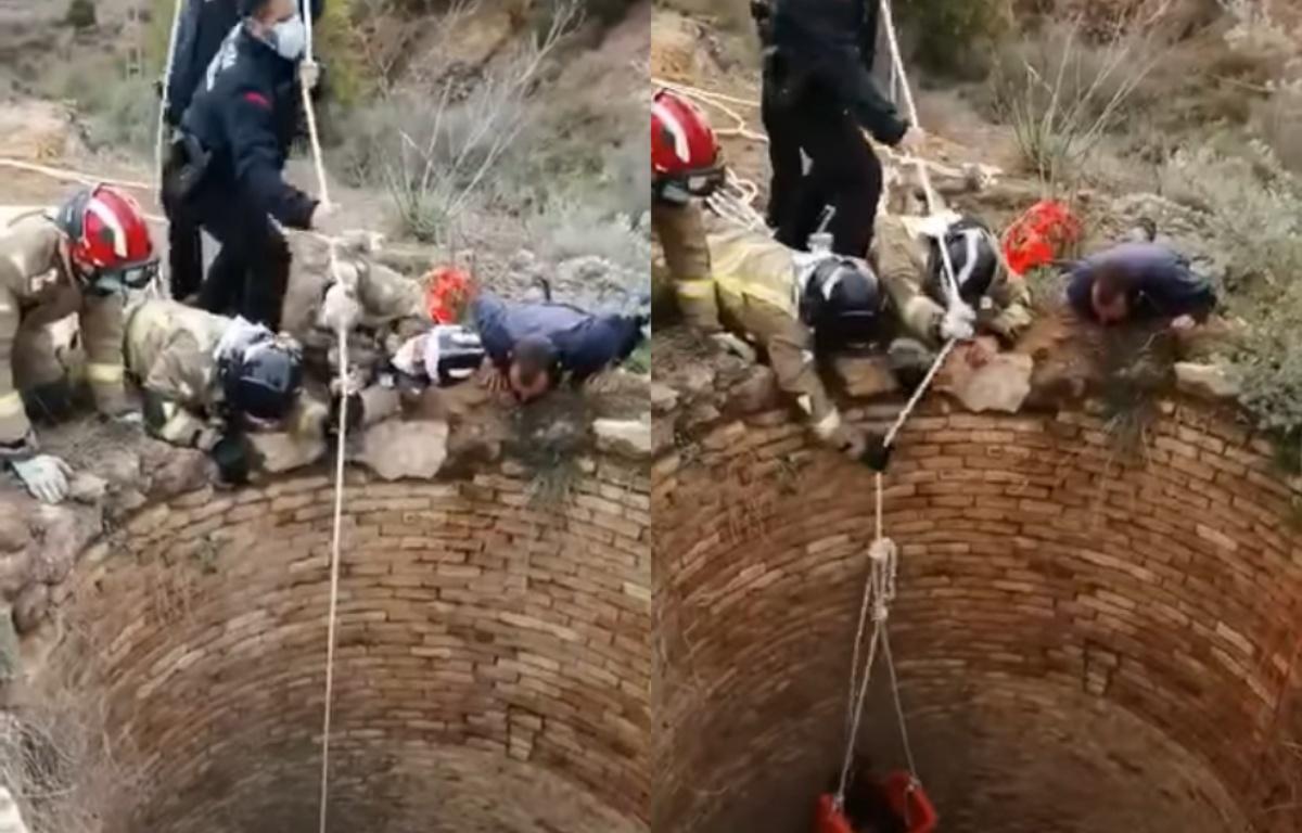 Cane caduto in un pozzo