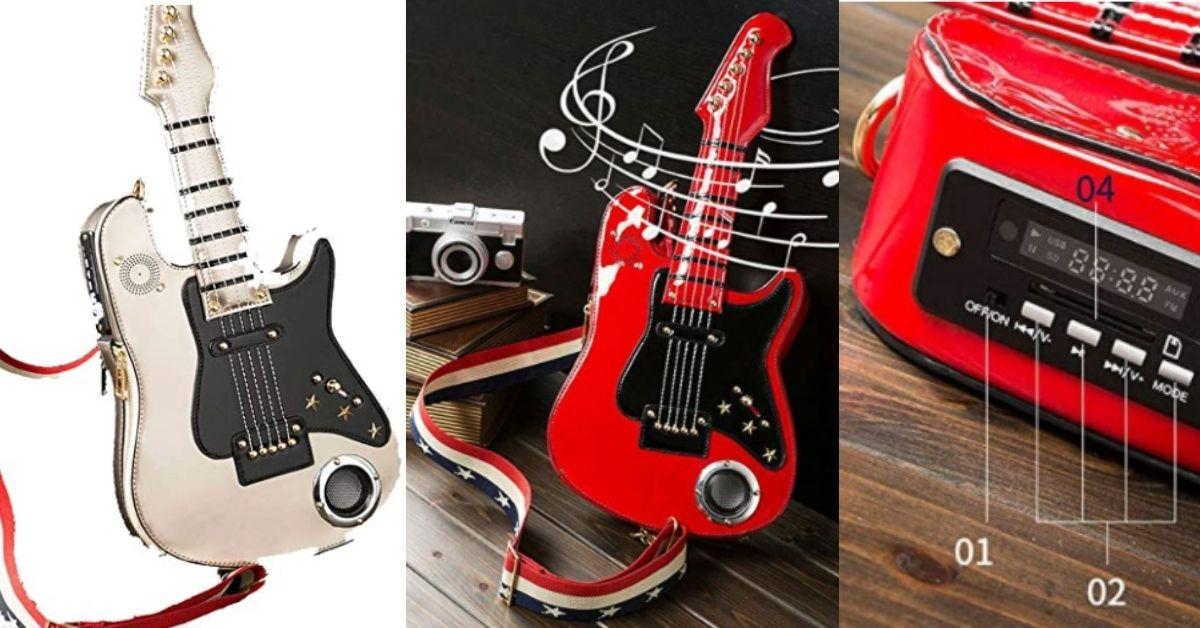 borsa a forma di chitarra che suona